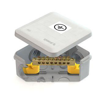 Коробка уравнивания потенциалов (КУП) 100х100х50мм, 6 гермовводов с шиной IP55