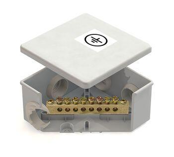 Коробка уравнивания потенциалов (КУП) 85х85х40мм, 6 гермовводов шина 6х9 8груп  IP44