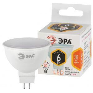 LED MR16-6W-827-GU5.3 ЭРА (диод, софит, 6Вт, тепл, GU5.3), (10/100/4000)