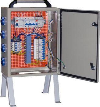 Щит механизации ЩМ- РУСП-   80-4х1П-3х3П-IP54 (ВВ-  80А с 1 УЗО, 4 роз. 1Р+N+РЕ 16А, 3 роз.  3Р+N+PE 32A)